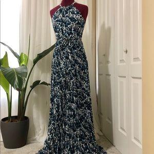 CACHE Blue Leopard Print Maxi Dress